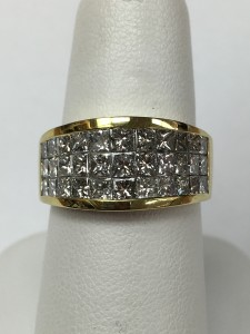 Fiery 18K Yellow Gold Princess Diamond Three Row Ring Size 7 2.65 ct of fiery princess cut diamonds Original Price: $6500 Sale Price: $4199