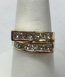 14K Yellow Gold Fiery Princess Cut Diamond Ring Size 6.25 1.53 ct. Original Price: $4000 Sale Price: $2700