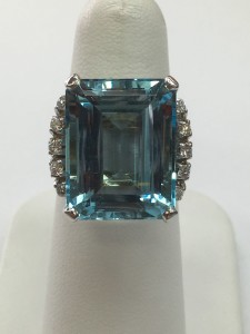 Gorgeous 14K White Gold Large Aquamarine Cocktail Ring with diamonds Genuine Aqua is 19 ct .30 ct do diamonds on the side Original Price: $3500 Sale Price: $2500