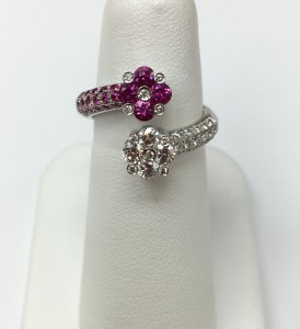 14K White Gold Fashion Ring with diamonds and pink sapphires .76 ct diamonds .66 ct pink sapphires Original Price: $3999 Sale Price: $2899