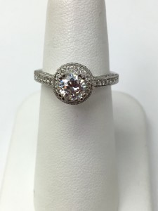 14K White Gold Diamond with Halo Engagement Ring .50 ct center diamond 1 ct total weight in stones Original Price: $4950 Sale Price: $2950