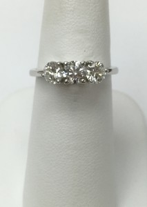 14K White Gold 3 Round Stone Diamond Ring 1 ct total weight Original Post: $2499 Sale Price: $1499