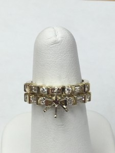 14K Yellow Gold Round and Baguette Semi-Mount Wedding Set Size 6 Original Price: $3900 Sale Price: $1999