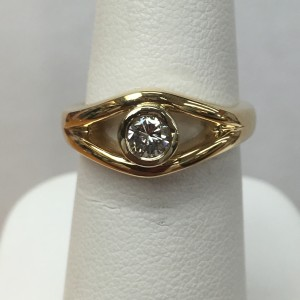 14K Yellow Gold Diamond Fashion Ring Size 5.75 .29 ct round diamond Original Price: $1499 Sale Price: $699